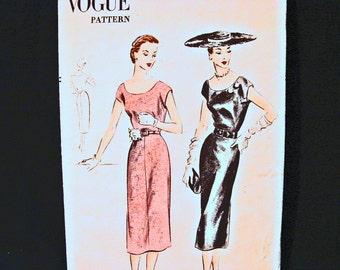 1950s Dress Pattern Vogue Pattern Misses size 14 Womens Wiggle Dress Low Round Neckline Cap Sleeve Vintage Sewing Pattern 50s