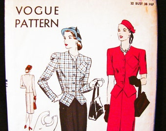 1940s Patterns, Womens Suit Pattern, Misses size 14, Vogue Pattern, Fitted Jacket, Straight Skirt Vintage Sewing Pattern