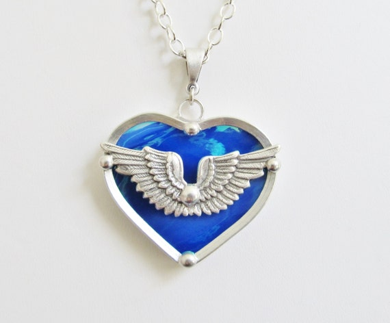 Stained Glass Winged Heart Pendant Necklace Iridescent Blue - photo#34