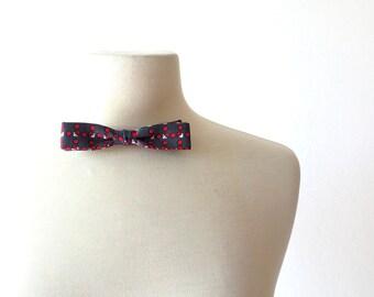 Vintage Gray Bow Tie / Clip On Bow Tie / 1950s Bow Tie