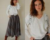 Leather Fringe Sweater Vintage 80s Ivory Slouchy Knit Boho Indie Fringe Sweater (m l)