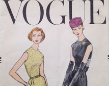 Vintage Vogue One Piece Pencil Silhouette Dress Sewing Pattern 1957