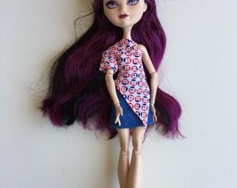 Handmade Monster High Ever After High La Dee Da Clothes Top Skirt  (S1512)
