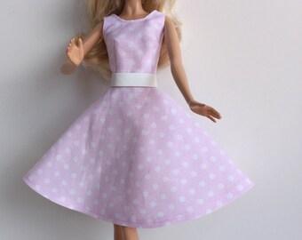 Handmade Barbie Dress Clothes Pink Polka Dot Belt Fashion Royalty Barbie LIV (S501)