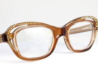Rhinestone Cat Eye Sun/Eyeglasses CUT OUT Jeweled Optical Frames France NOS