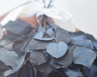 Bunch of blue or purple lemon leaf, preserved lemon leaf, blue greenery, blue salal, greenery, blue florals, preserved salal, blue leaves