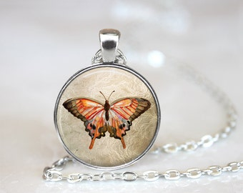 Butterfly Changeable Magnetic Pendant Necklace with Organza Bag