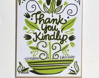 6 Pack: Thank You Kindly Letterpress Cards