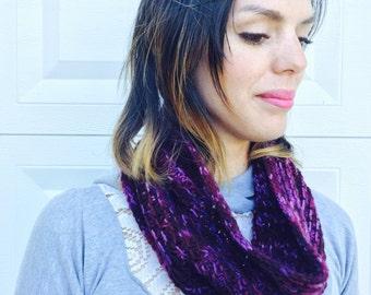 purple cowl, knitted, merino wool