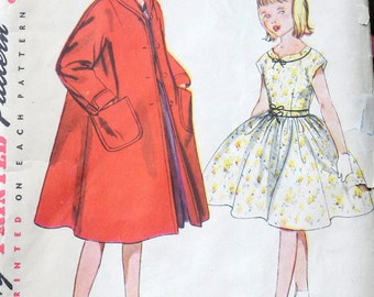 Simplicity 4586 - Super-Sweet Girls' Party Dress & Coat - Great Easter Outfit - 1950s Vintage Pattern - Size 7 - UNUSED / UNCUT