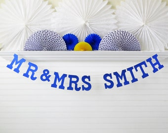 Glitter Custom Name Banner Mr & Mrs - 5 inch Letters - Wedding Banner Bridal Shower Decor Wedding Shower Mr and Mrs Banner Custom Name Sign