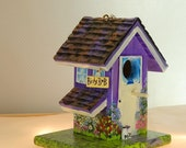 Small Birdy BnB . Purple and White Birdhouse , Handcrafted , Hand Painted , with Clean Out