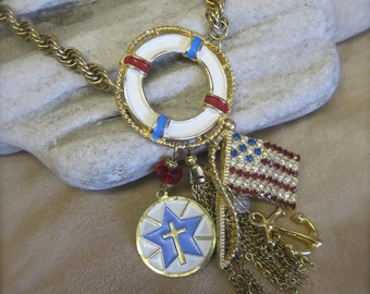Save Our Souls: Nautical Necklace Patriotic Vintage Assemblage July 4 Collectible Americana USA American Flag US Military One of a Kind