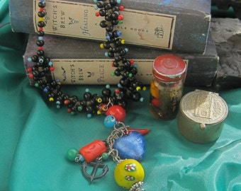 REVERSE the CURSE: Protection Necklace Vintage Assemblage Choker Lucky Amulets in Colorful Brights and Black with Heart Anchor Evil Eye