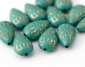 Turquoise Gold Etched Teardrop Acrylic Flat Drop Beads 18mm (12)