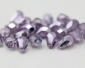 Czech Glass Purple Faceted Drop Beads FP Fire Polished 7mm (20)
