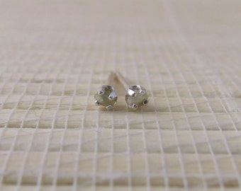 Rough Diamond Stud Earrings Sterling Silver 2mm April Birthstone