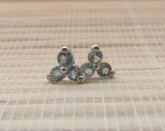 Sky Blue Topaz Cluster Stud Earrings Sterling Silver 3mm