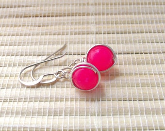 Wire Wrapped Earrings Fuchsia Jade Dangle Sterling Silver