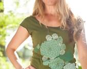 women's tshirt, olive green shirt, botanical succulent screenprint, gardening tshirt