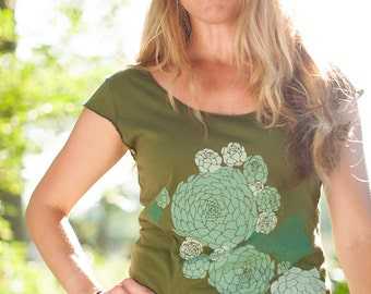 women's tshirt, olive green shirt, botanical succulent screenprint, gardening tshirt