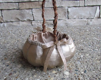 Small Champagne Pumpkin Basket for your Cinderella Fall Wedding
