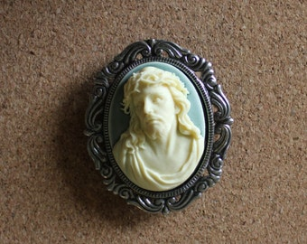 Framed cameo of Jesus magnet, Ivory and moss green