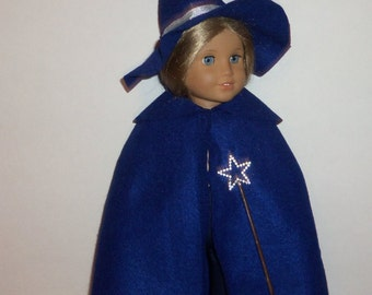 18 inch Doll Costume, Blue Wizard Cape, Felt Wizard Hat, American Made, Girl Doll Clothes