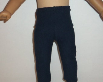 18 Inch Doll Leggings, Navy Blue, Cotton Doll Pants, American Made, Girl Doll Clothes