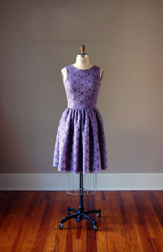Lavender Lace Dress / Vintage Inspired / Bridesmaid Dress / Cocktail / Reception / Party / Purple / Lilac / Made in USA / Sizes 00-16