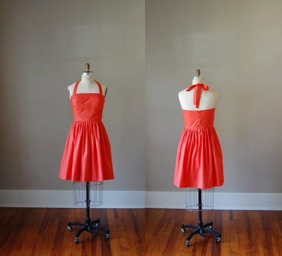 Hayley Cotton Halter Dress / Orange / Clementine / Custom / Rustic / Bridesmaid / Party / Wedding / Handmade in USA / Summer