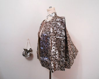 Midnight Shimmer 1940's Brocade Cape w/ Purse Black Silver Metallic Cape Vintage Cape Asian Evening Wrap Gothic Old Hollywood Film Noir Cape