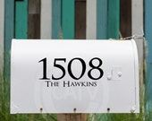 Custom House Number and Last Name Mailbox Lettering Set of 2 (one for each side of the mailbox) vinyl decal