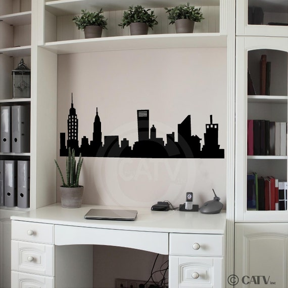 New York Skyline wall saying art decal