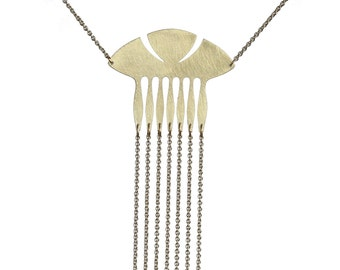 Vintage brass Swedish comb fringe necklace