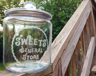 Sweets General Store Glass Gallon Jar - 1/2 Gallon Candy Jar, Candy Bar, Cookie Jar, Glass Jar, Kitchen Storage