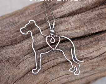Great Dane Necklace, Custom Dog Necklace, Sterling Silver Dog, Dog Outline, Wire Jewelry