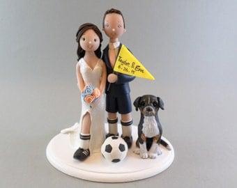 Bride & Groom Soccer Fans Personalized Wedding Cake Topper