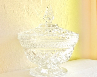 Large Cut Glass Pedestal Jar with Lid with Decorative Handle - Stunning