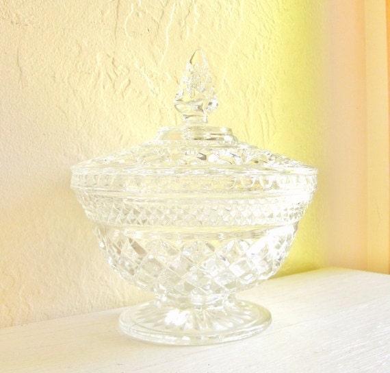 large cut glass pedestal jar with lid with decorative handle. Black Bedroom Furniture Sets. Home Design Ideas