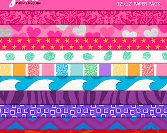 Barbie & Friends Scrapbook Papers, Instant Download, 10 Digital Paper Pack. 12'x12' pattern prints, Background