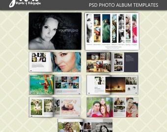 A4 Portfolio 1 photoalbum, landscape book template for photographers, 8 spread PSD digital photobook easily to customize