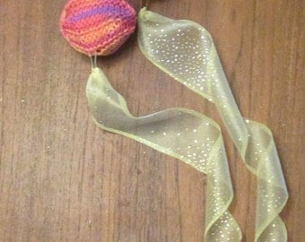 Burning Man Practice Poi Hand Knit - Summer Sunrise Poi with Lemon Yellow Glitter Tails