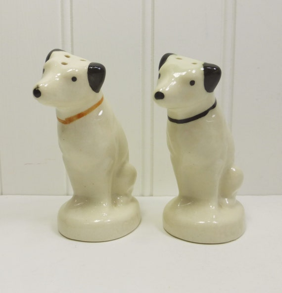 Rca Dog Porcelain Salt And Pepper Shakers Nipper His Masters