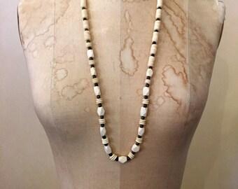 Vintage necklace White necklace bone necklace Beaded necklace Tribal necklace long necklace Boho necklace bohemian necklace natural material