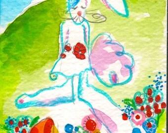 Rabbit in the Flower Patch by Vermont Artist Cathy Stevens Pratt