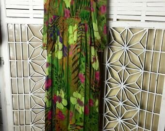 Chiffon Floral Maxi Dress - Hawaiian flower print - festival dress - tropical print dress - empire waist - boho dress - hippie dress - sheer