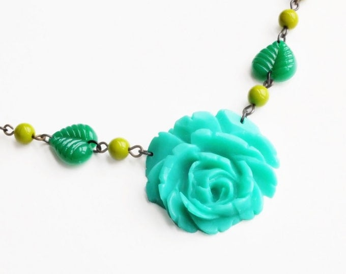 Green Rose Necklace Carved Rose Pendant Aqua Rose Necklace Vintage Rose Necklace Green Flower Necklace