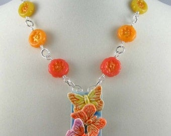 Citrus Butterfly Trio Necklace, polymer clay pendant and beads on silver chain, adjustable length, insect jewelry