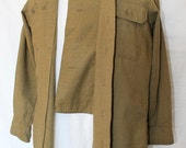 Vintage US Military Wool Shirt with Button Down Flap in Front, Pre World War II